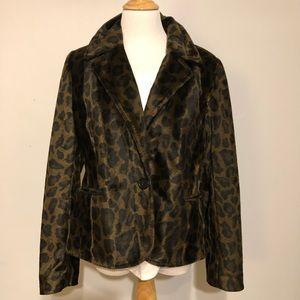 INC-Animal Print Brown & Black Blazer/Jacket-Sz L